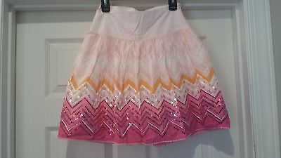 Justice Girls Pink Ombre Sequin Cotton Lined Skirt Size 8