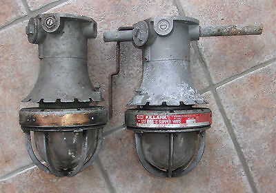 2 Industrial Spinning Hubbell Clear Globe Light Fixture W/cage Killark Vintage