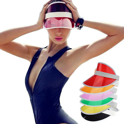 Tennis Beach Colored Plastic Clear Sun Bingo Vegas Dealer Golf Visor Hat Cap