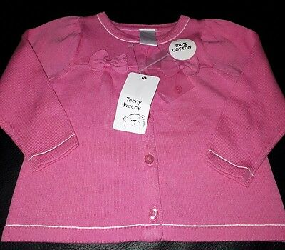 Baby Girl Pink Cardigan - BNWT - 6 - 9 Months - 100% cotton