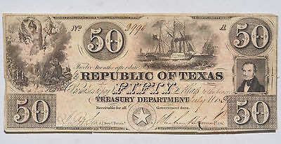 1839 $50 Republic Of Texas Obsolete Currency Rare Cut Cancel Light Circulated