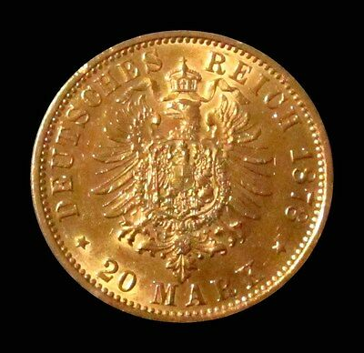 1878 J Gold German States Hamburg 20 Mark Coin About Uncirculated Condition