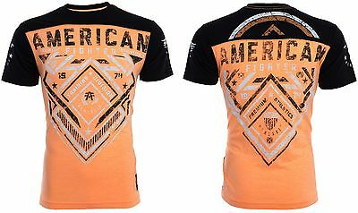 AMERICAN FIGHTER Men T-Shirt MARTELL Athletic BLACK ORANGE Biker Gym MMA UFC $40