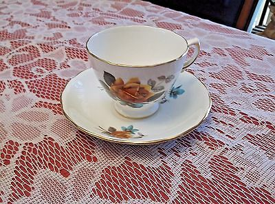 Vintage Royal Vale Bone China Yellow Rose Cup & Saucer Made in England