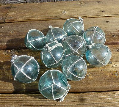 "Vintage Japanese Round Glass Fishing Floats W/ Net, 2"", Lot of 10"