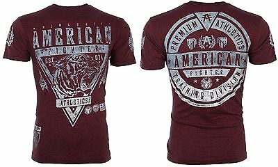 AMERICAN FIGHTER Mens T-Shirt WISCONSIN Tiger RED Athletic Biker Gym MMA UFC $40