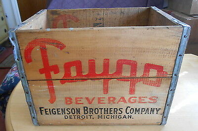 Vintage Rare HTF 1949 Faygo Pop Wooden Soda Beverage Crate Well Preserved
