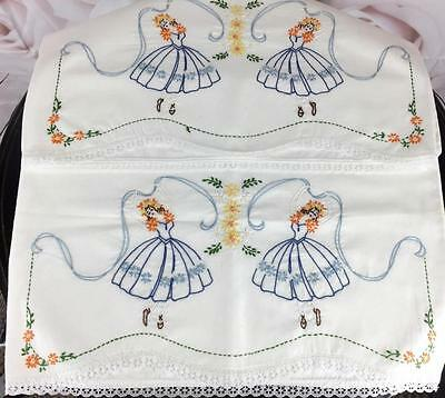 Vintage Pair Pillowcases Embroidered Dancers Ballet Floral Blue Orange