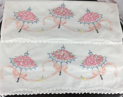 Vintage Pair Pillowcases Embroidered Umbrellas Crochet Standard Pink Blue