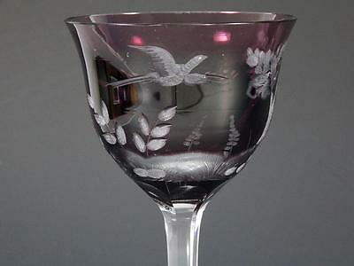"""Moser """"birds Of The Wild"""" Amethyst Cut To Clear Wine Goblet Lady Hamilton"""