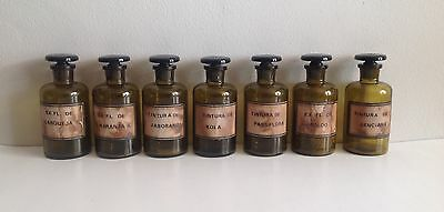 Rare Group of 7 Labled Apothecary Jars, Honey Amber Color, Ybor City