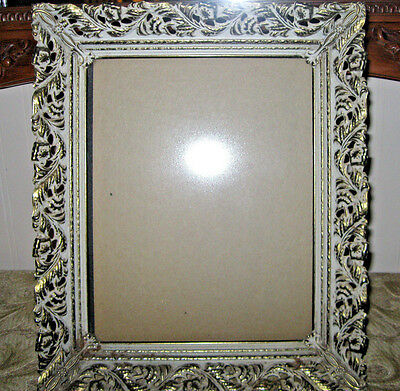 VTG Filigree Brass Metal PICTURE photo FRAME Lacey Loop 8x10 mid century ornate