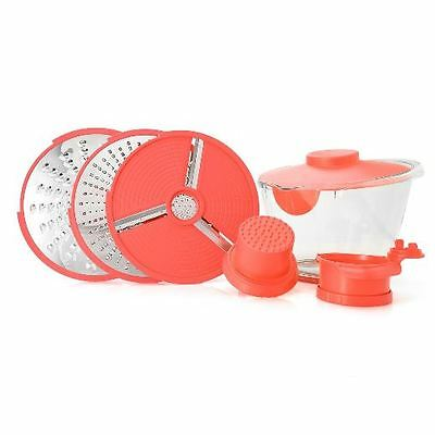 Cook's Companion 360 Slicing System w/2 Grating Discs, 3.5 qt Bowl & Lid - Red