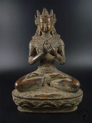 Very Large Antique Old Chinese Tibet Copper Tibetan Buddha Consort Statue Qing