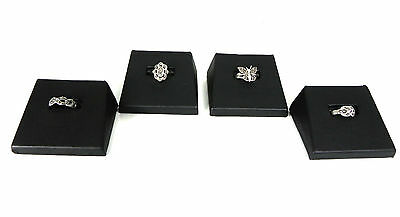 Four Black Faux Leather Ring Displays Jewelry Slanted Slot Slotted Display