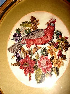 Antique Petit Point-Needlework,circa 1900,framed