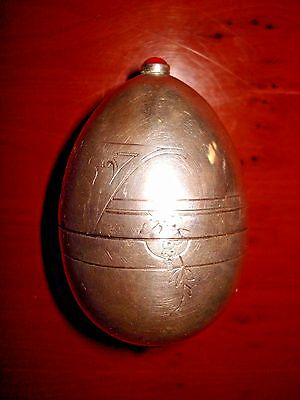 Antique Russian Imperial Silver Easter Egg With Engravings,circa 1875