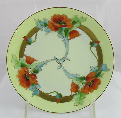 Antique Hand Painted Orange Red Poppy Flowers Silesia Gold Trim Dessert Plate