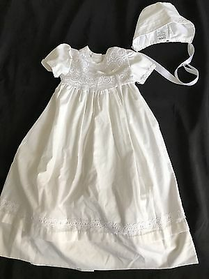 Baptism Christening Gown White Dress 2 pc Hat 9 - 12 months