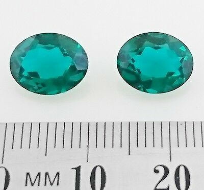 EMERALD Colored Gemstones - Oval shape Cut 10x8mm - x2 - FREE POST