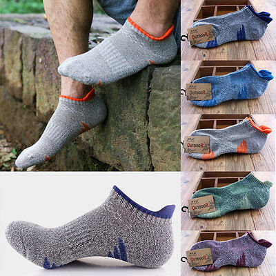 Mens Quick Drying Sports Ankle No Show Cotton Blend Running Hiking Travel Socks