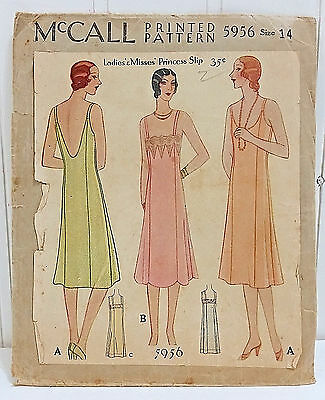 Vtg 1929 MCCALL Slip Pattern 5956 Princess Chemise Sz 14 Flapper Gatsby Dress