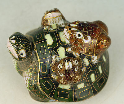 chinese Collect Cloisonne Hand Painting Tortoise Statue Noble Gift