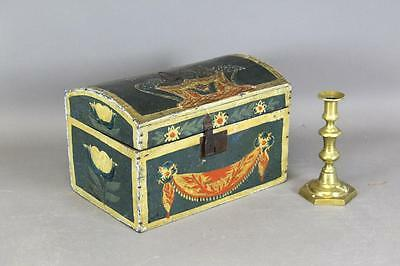 Great 19Th C Pa German Folk Art Painted Box Best Tulip & Swag Painted Decoration
