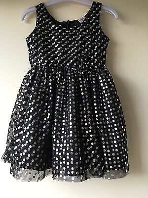 Girls Party Black Chiffon Dress With Silver Dots. Size 2
