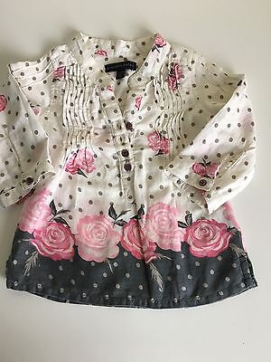 Pumpkin Patch Girls Floral Cotton Top Fits 6-12 Months
