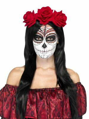 Day of the Dead Ladies Headband Headpiece Halloween Red Rose Accessory