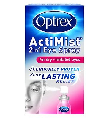 Optrex ActiMist 2in1 Eye Spray for dry + irritated Eyes - 10ml  fast relief..
