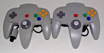 2 x Genuine Nintendo 64 N64 Grey Controller Refurbed Toggle (A Grade)