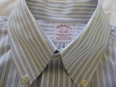 Brooks Brothers Non Iron  size 15 1/2 32 Stripped white/ blue