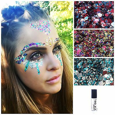 Festival Body / Face Glitters Kiss My Fairy 5ml Pot with Glitter Fix gel 2.9ml