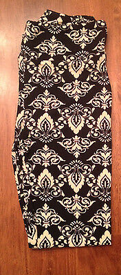 LuLaRoe Leggings OS Black, White, Cream Damask. Unicorn. NEW! One Size RARE