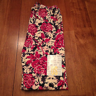 NEW LuLaRoe Leggings, OS, Black, Pink Purple Roses. Flowers. One size. NWT