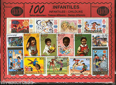 100 stamps different world used @@ Theme : CHILDREN'S @@
