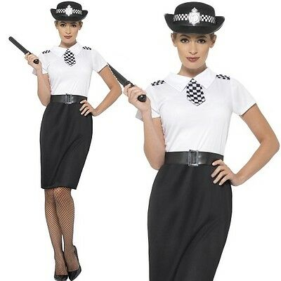 Ladies British Police Woman Fancy Dress Costume & Hat WPC by Smiffys