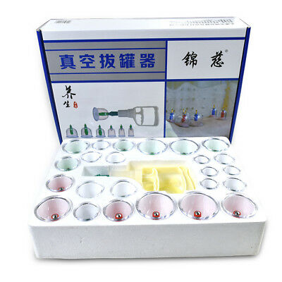 24 Cups Chinese Cupping Set & Extension Tube Massage Acupuncture Vacuum Therapy