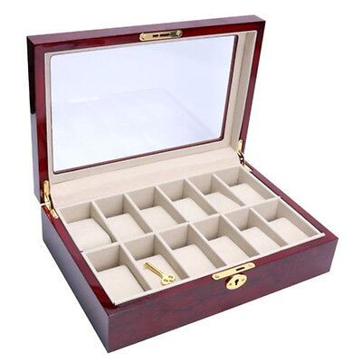 SA Nice 12 Slots Wooden Watch Box Display Clear Top Jewelry Case Organizer