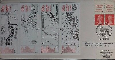 Great Britain 1994 Cover With 4 Hydrographic Map Stamp Booklets & Booklet Stamps