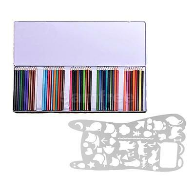 50 Colors Pencils For Artist Sketch and Cute Hollow Drawing Ruler Template