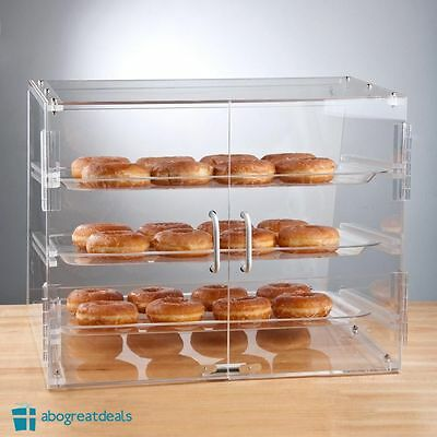 Bakery Clear Display Case 3 Tray Countertop Magnetic Rear Door Donut Pastry