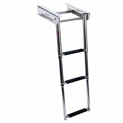 3-Step Stainless Under Platform Boat Boarding Swim Telescoping Ladder US SHIP