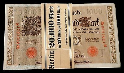 Bank wrapped crisp Uncirculated  pack of 1000 mark Germany banknotes