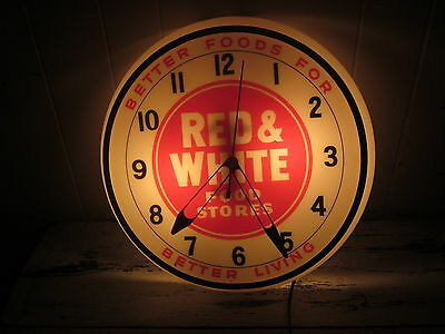 Electric Advertising Red And White Food Store Grocery Wall Clock