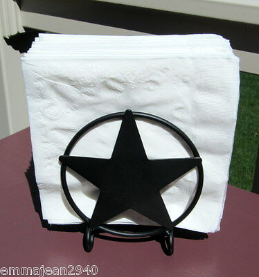Amish forged napkin holder caddy. Star. Black wrought iron, Strong, made in USA