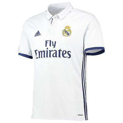 adidas Mens Gents Football Soccer Real Madrid Home Shirt Jersey 2016-17 - White