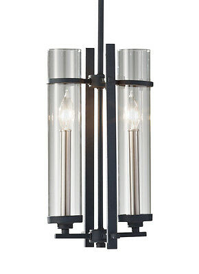 Antique Forged Iron/Brushed Steel Ethan 2-Light Pendant with Clear Glass Shades